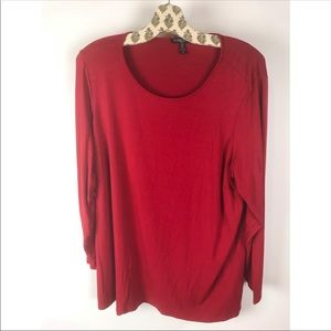 Eileen Fisher Woman Red Jersey Scoopneck Top 2X